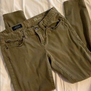 Army green J Crew Toothpick Pants